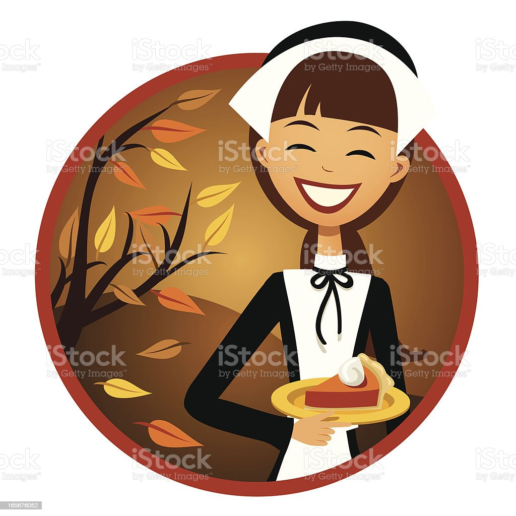 Smiling Pilgrim Woman with Pumpkin Pie royalty-free stock vector art