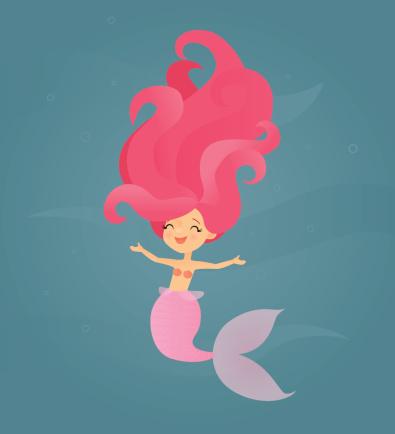 Smiling Pink Mermaid