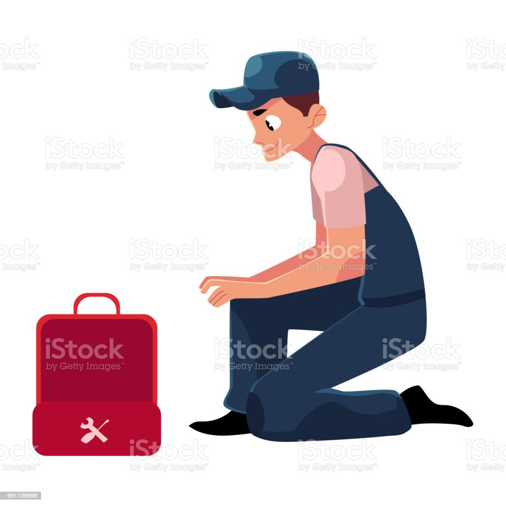 open toolbox clipart. smiling plumbing specialist plumber sitting with wrench and open toolbox vector art illustration clipart
