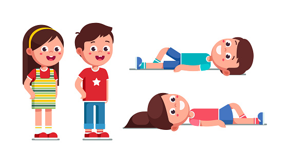 Smiling preschool boy and girl standing and lying on ground. Happy kids cartoon characters set. Flat vector clipart illustration.