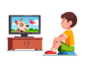 Smiling preschool boy kid sitting and dreaming of own dog watching film on TV about dog and butterfly. Child cartoon character flat vector clipart illustration.