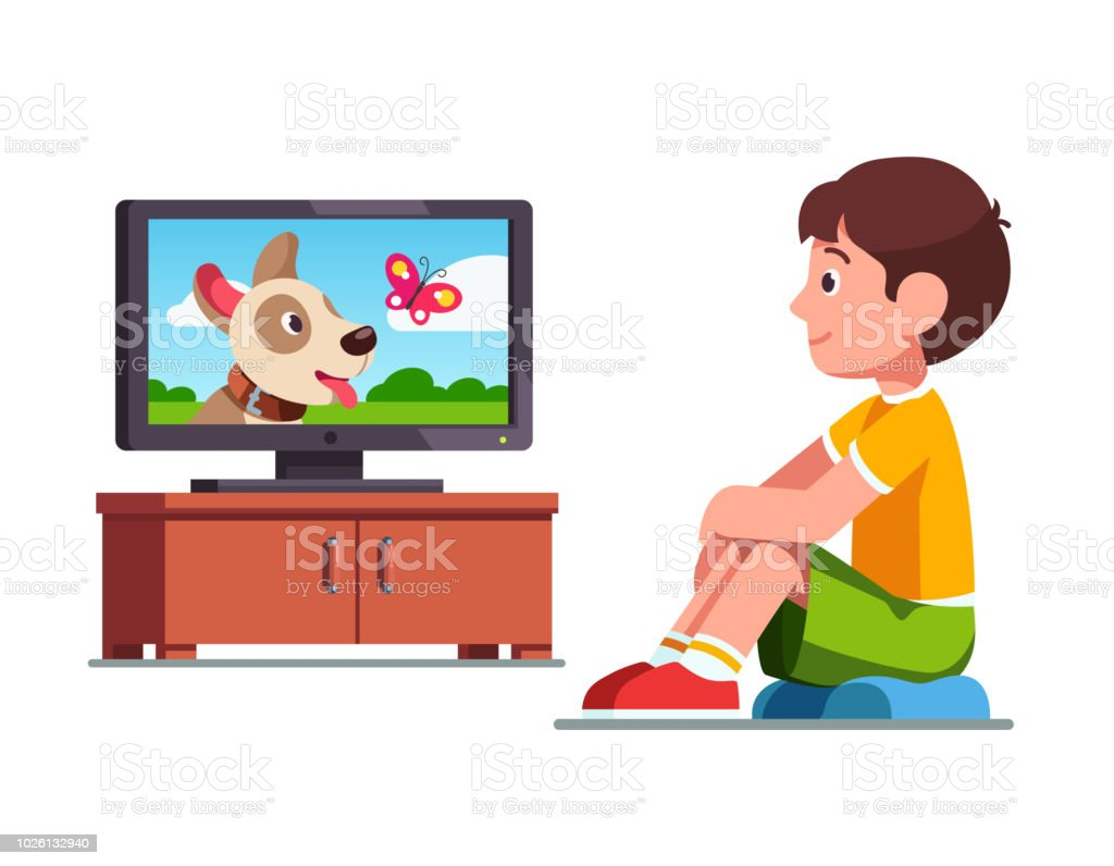 Smiling preschool boy kid sitting and dreaming of own dog watching film on TV about dog and butterfly. Child cartoon character flat vector clipart illustration. vector art illustration