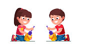 Smiling preschool girl and boy kids playing with sand pail and shovel in sandbox. Children cartoon characters. Flat vector clipart illustration.
