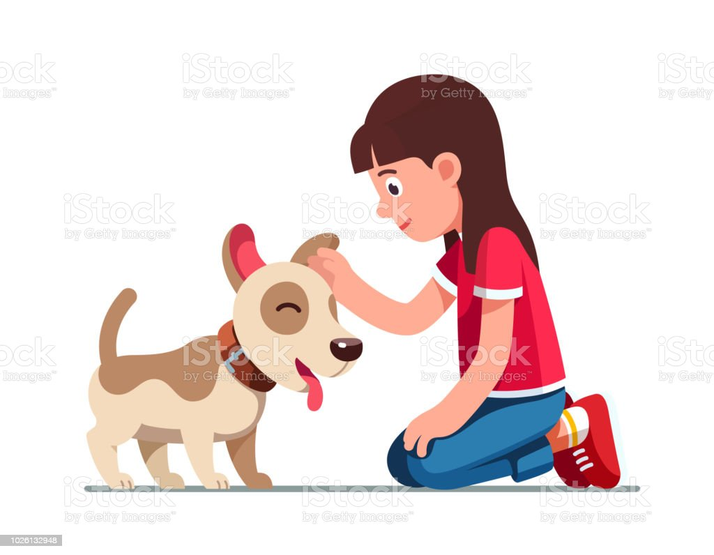Smiling preschool girl kid sitting on ground and patting happy cute dog puppy. Child cartoon character flat vector clipart illustration.