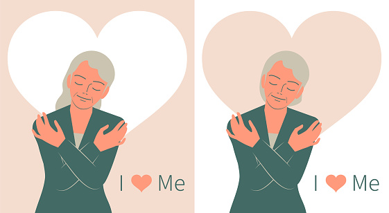 Smiling pretty elder woman hugging herself with closed eyes and heart background, I Love Me, Love Myself, Self Care