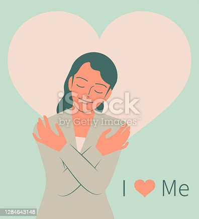 istock Smiling pretty girl hugging herself with closed eyes, I Love Me 1284643148