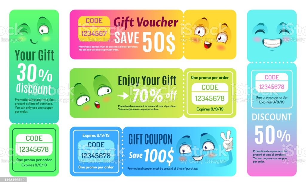 Smiling Promo Voucher Happy Gift Coupon Funny Deal Vouchers And Gifts Code Coupons Template Vector Set Stock Illustration Download Image Now Istock