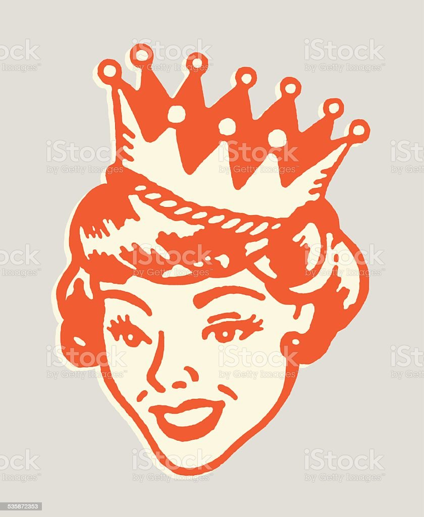Smiling Queen vector art illustration
