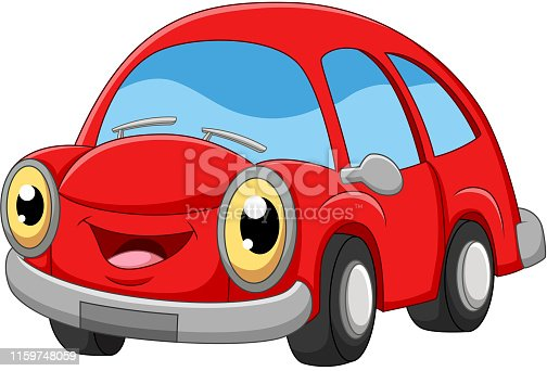 Vector illustration of Smiling red car cartoon on white background