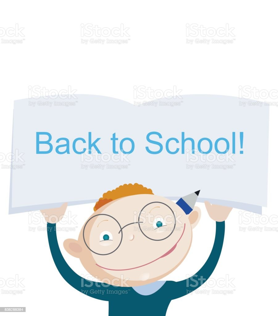 Smiling red hair school boy holding above and showing notebook with greeting phrase back to school. vector art illustration