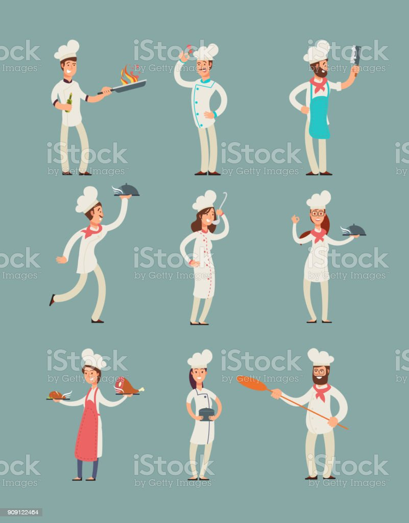 Smiling restaurant chefs, professional cooks in kitchen uniform vector cartoon characters set vector art illustration