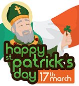Smiling Saint Patrick Holding a Clover over Waving Flag of Ireland