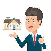 Smiling Salesperson showing a house, estate and Home for sale concept, Vector character illustration.
