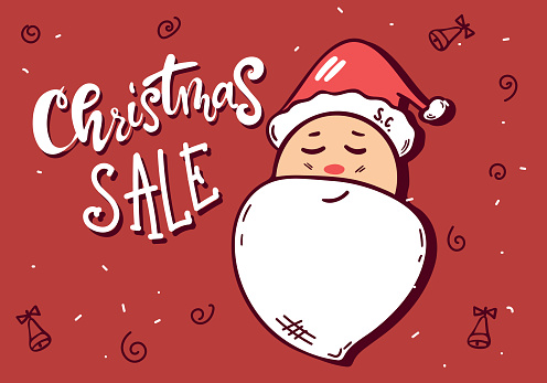 Smiling Santa Claus character head white beard in traditional Christmas sale holiday merry santa clauses on red background. Vector illustration with Merry Father Christmas personage. hand drawing