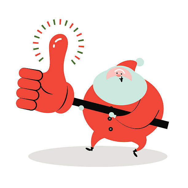 smiling santa claus holding big thumbs up sign - old man showing thumbs up background stock illustrations