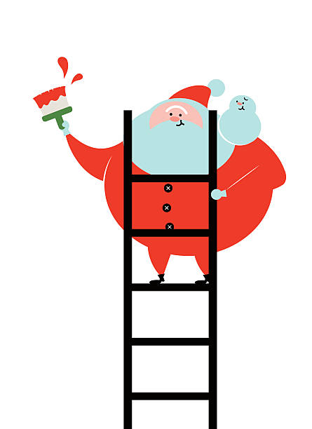 smiling santa claus painter standing on ladder painting with brush - old man pajamas stock illustrations, clip art, cartoons, & icons