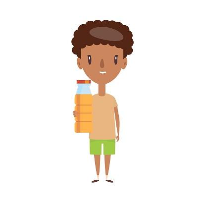 Smiling school kid. Cheerful elementary school student, kindergarten pupil cartoon character