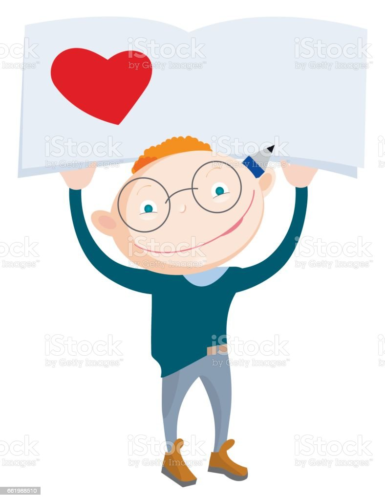 Smiling school-boy holding notebook with heart and blank side for a note. vector art illustration