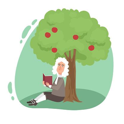 Smiling scientist Newton reading book under tree apple