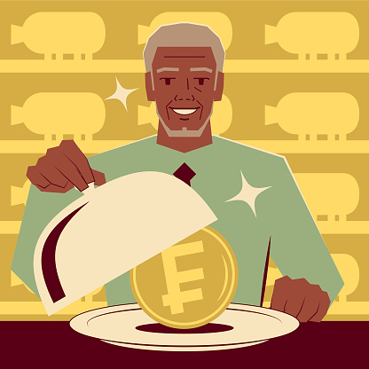 Smiling senior adult businessman taking the lid off a domed tray that has a Swiss Francs currency inside