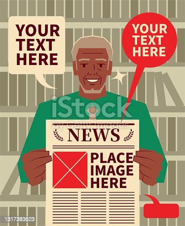 Smiling senior adult man (journalist, businessman, teacher, lawyer, politician) holding a newspaper and showing breaking news