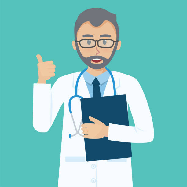 smiling senior doctor shows thumbs up gesture cool. - old man showing thumbs up background stock illustrations