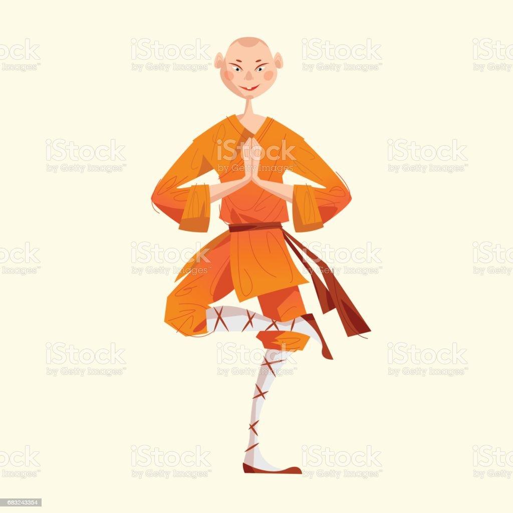 Vetores De Monge Shaolin A Sorrir Kung Fu Meditando E Mais Imagens