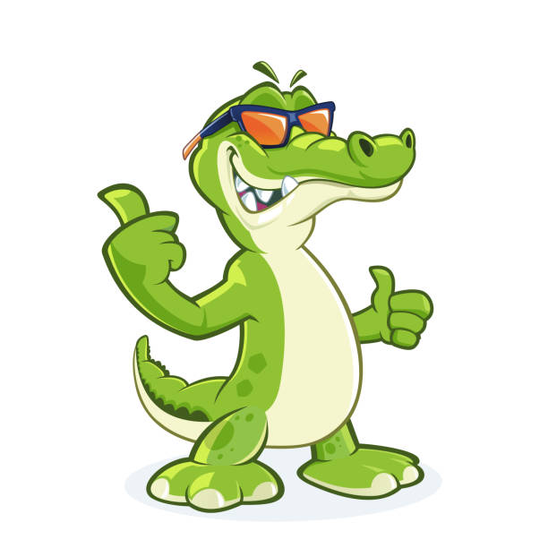 Smiling shark with sunglasses Cool crocodile mascot with sunglasses and thumb up crocodile stock illustrations