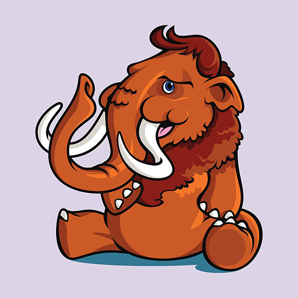 Smiling Sitting Mammoth vector art illustration