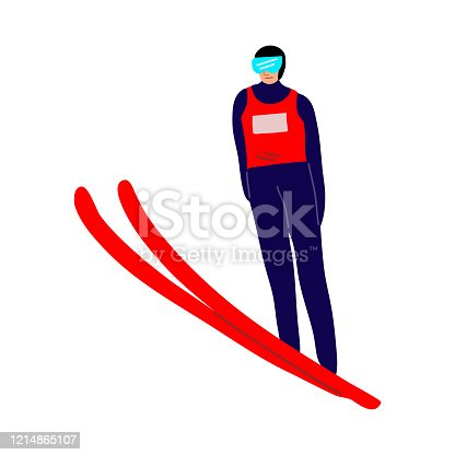 Smiling ski jumper sportsman in the air. Vector illustration in the flat cartoon style