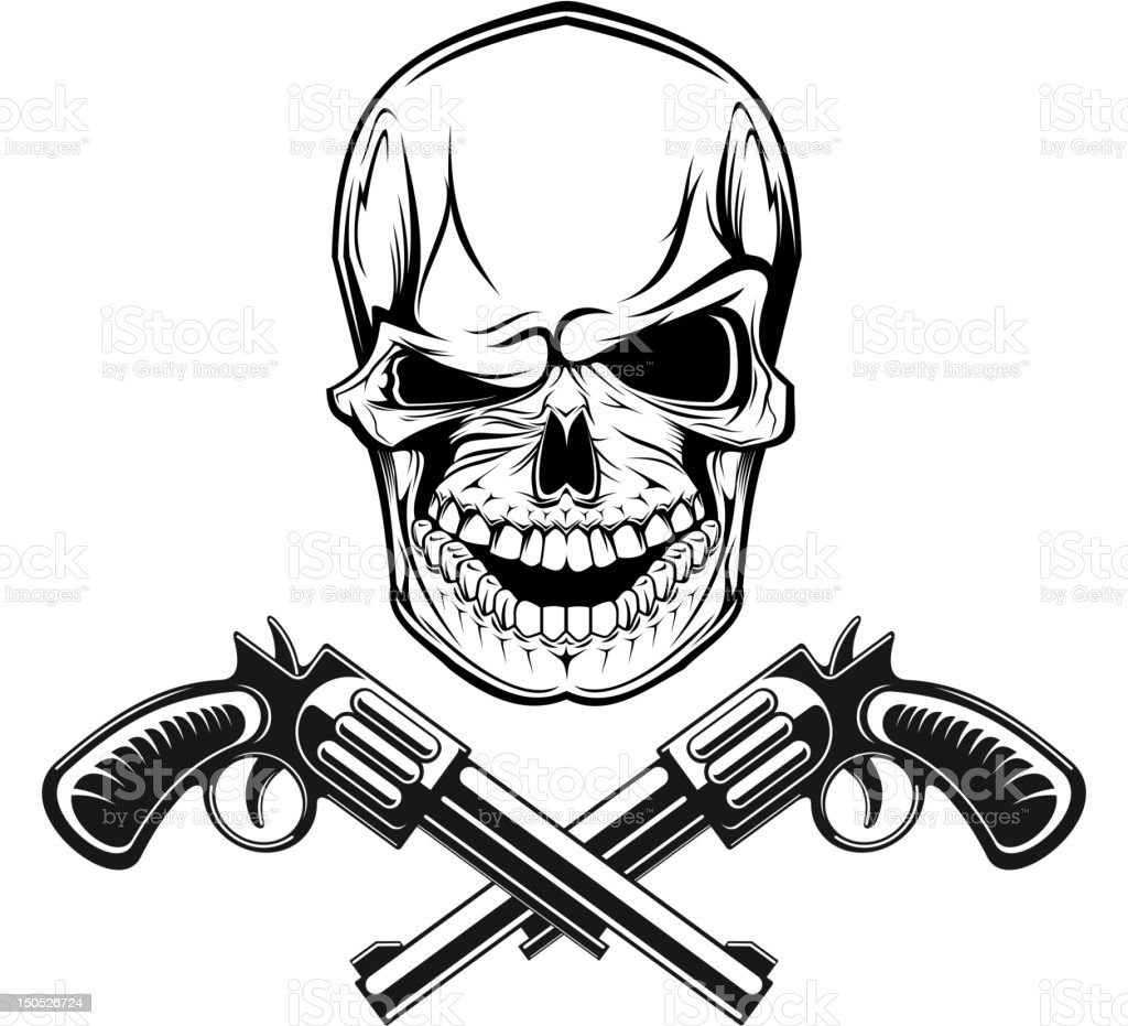 Smiling skull with revolvers royalty-free stock vector art