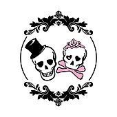 Smiling skulls with hat and princess crown inside black floral frame