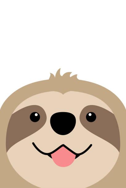 illustrations, cliparts, dessins animés et icônes de souriant le design plat de visage paresseux, vector illustration - emoji paresseux