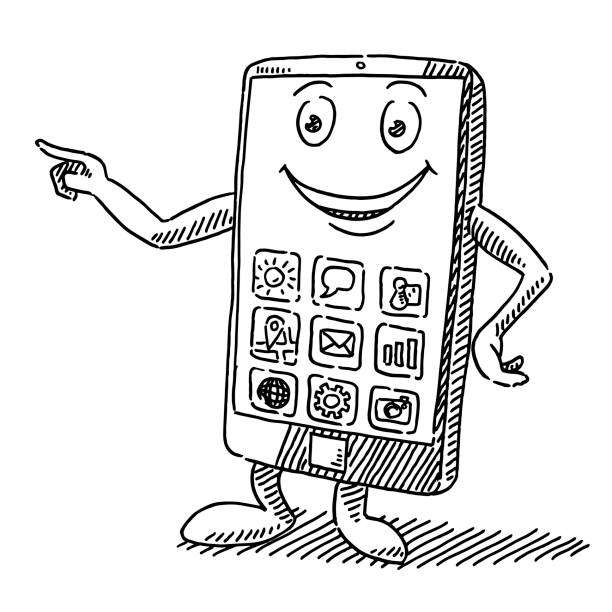 Smiling Smart Phone Cartoon Figure Drawing Hand-drawn vector drawing of a Smiling Smart Phone Cartoon Figure. Black-and-White sketch on a transparent background (.eps-file). Included files are EPS (v10) and Hi-Res JPG. cartoon character figure stock illustrations