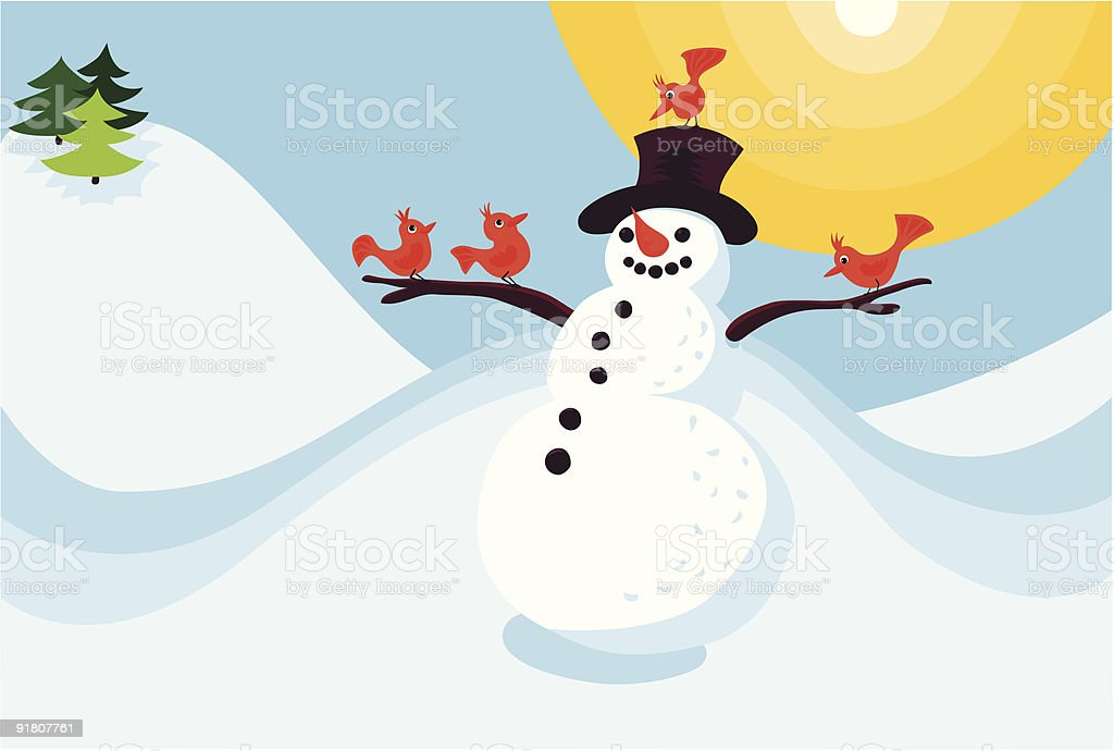 Smiling Snowman vector art illustration