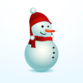 Smiling Snowman. Vector illustration isolated for easy use in different compositions. Cartoon Character design. Merry Christmas!