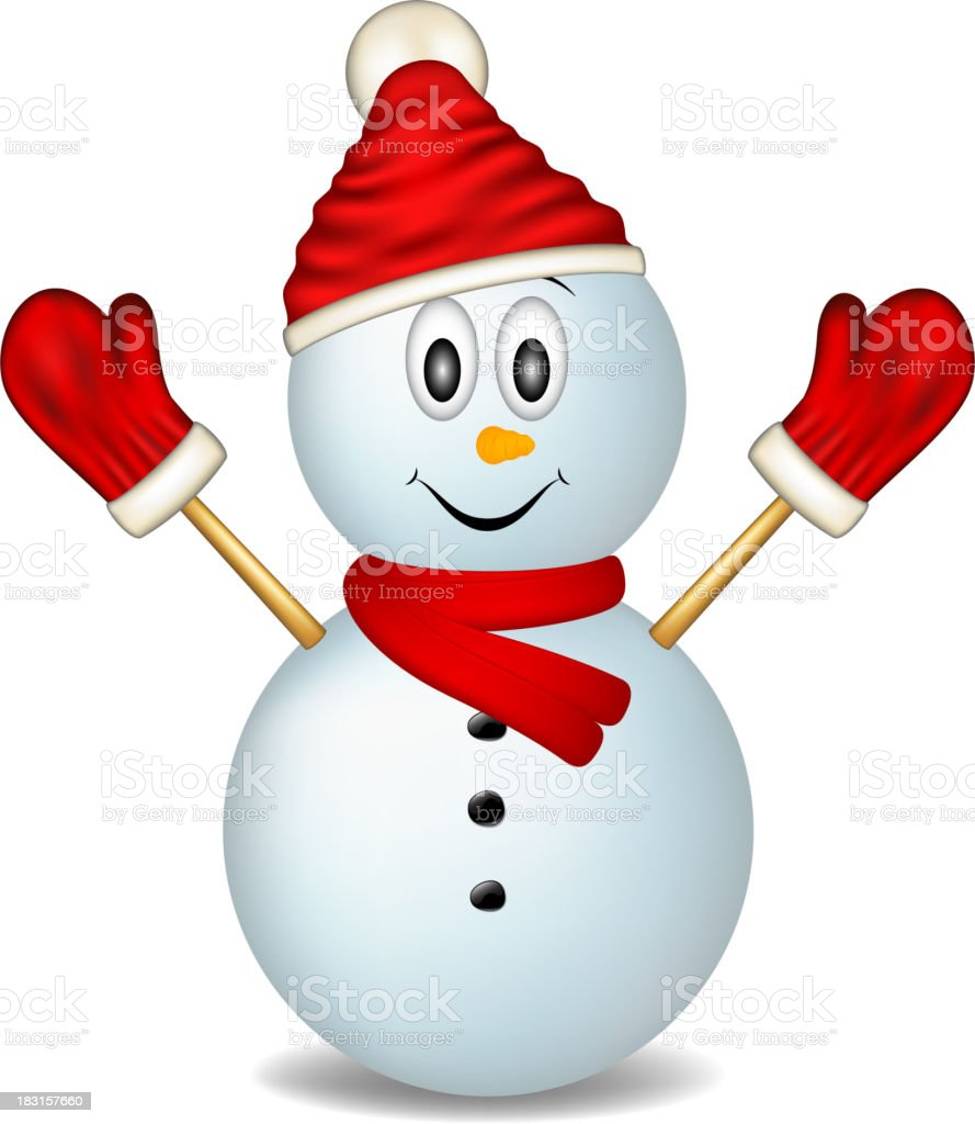 Smiling snowman wearing mittens, hat and scarf royalty-free smiling snowman wearing mittens hat and scarf stock vector art & more images of cap