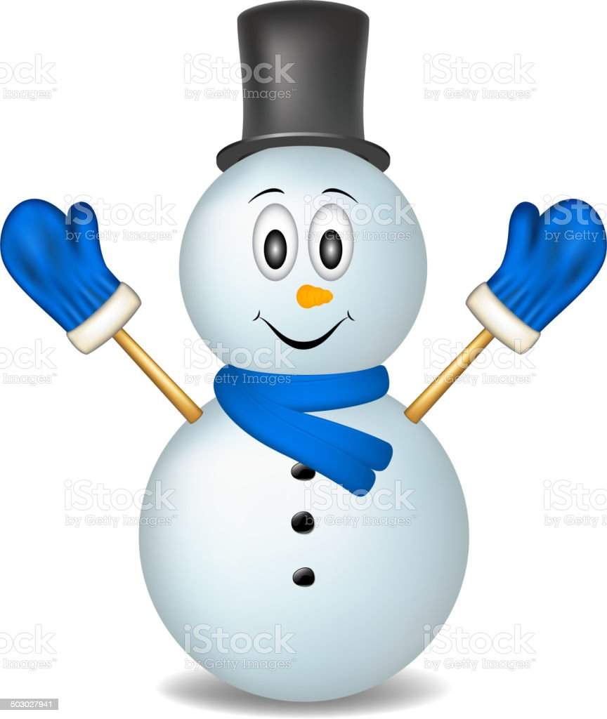 Smiling snowman wearing mittens, hat and scarf royalty-free stock vector art