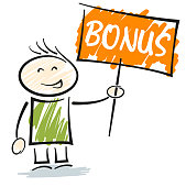 smiling stickman character holding sign with word BONUS
