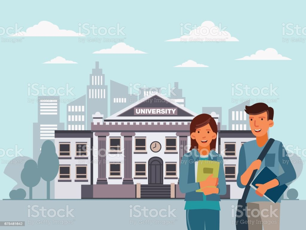 Smiling students standing with notebooks. Back to school vector concept vector art illustration
