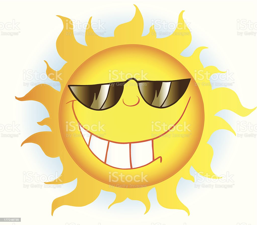 Smiling Sun Cartoon Character With Sunglasses And Background vector art illustration