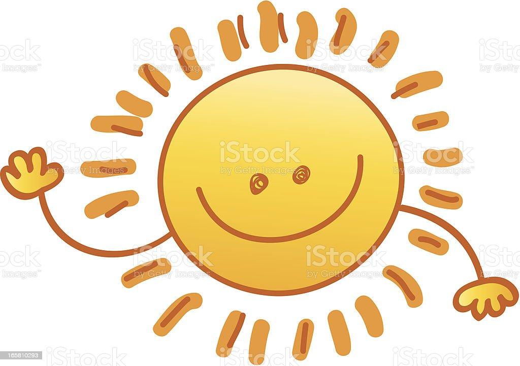 smiling sun cartoon illustration royalty-free stock vector art