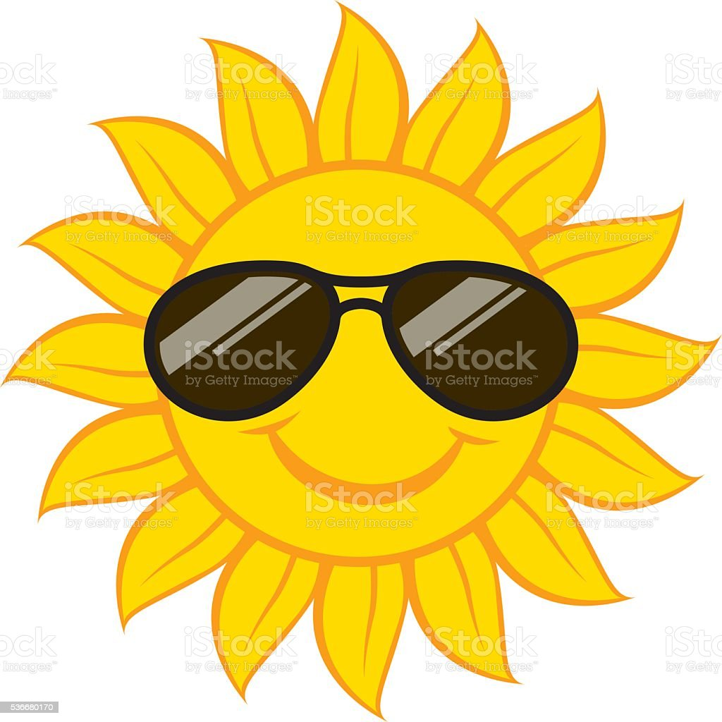Smiling Sun Face With Sunglasses Stock Vector Art & More ...