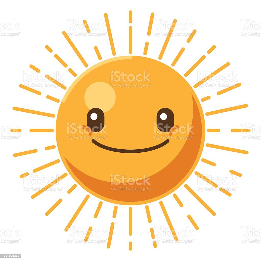 Smiling sun icon. Summer time concept vector art illustration