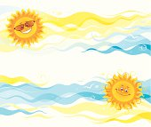 Smiling sun images on blue and yellow summer banners