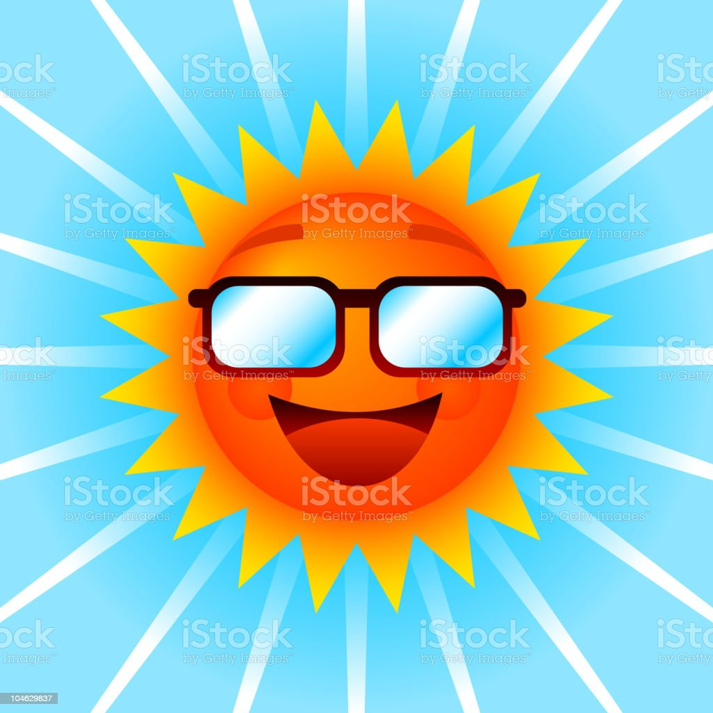 Smiling sun with shades royalty-free stock vector art