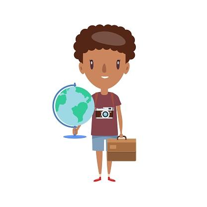 Smiling teenager. Cheerful elementary school student, kindergarten pupil cartoon character
