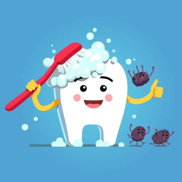 bildbanksillustrationer, clip art samt tecknat material och ikoner med ler tand karaktär borsta själv med tandborste & tandkräm skum. bakterier faller ner, flyr, kör bort. flat isolerade vektor - molar