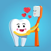 Funny happy cartoon tooth character holding hands and embracing smiling toothbrush expressing love & romance. Motivational clipart. Children dentistry, teeth hygiene character. Flat vector illustration