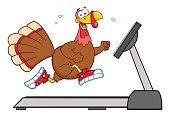 Smiling Turkey Running On A Treadmill